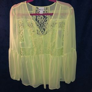 Neon Yellow/Green Long Sleeve Lace Blouse